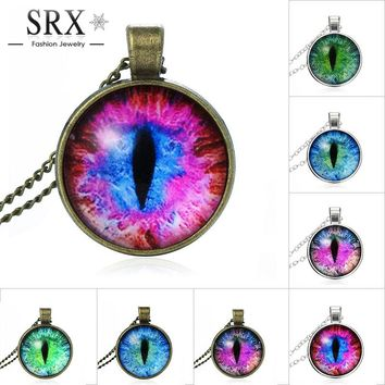 Blue Green Cat Eye Pendant Necklace
