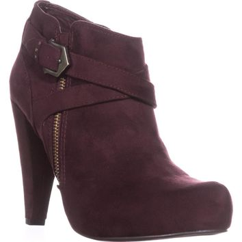 G by Guess Taylin2 Closed Toe Ankle Fashion Boots, Dark Red, 8.5 US