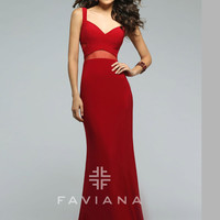 Faviana 7744 Sheer Waist Panel Formal Prom Gown