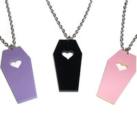 Coffin Necklace, Creepy Cute Pastel Goff, Heart Cut Out, Lavender, Pink or Black