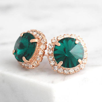 Emerald Earrings, Bridal Emerald Earrings, Dark Green Stud Earrings, Bridal Emerald Earrings, Bridesmaids Emerald Earrings, Gift For Her