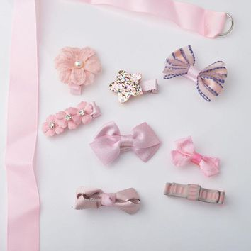 8 piece / set Cute Kids Hair Clip  Flower Bow Barrettes Headband Girls Hairpin Gold and Silver Color Hair Clip for Kids