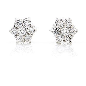 .70 Carat 18k White Gold Diamond Flower Cluster Stud Earrings