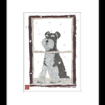 Schnauzer Art Print of Original Hand-Torn Newspaper Collage, Dog Art, Winter Art, For 8 x 10 Frame, Schnauzer Gift Idea