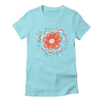 Boriana's Artist Shop's Artist Shop | Shop Abstract Whimsical Red Flower Women's T-shirt