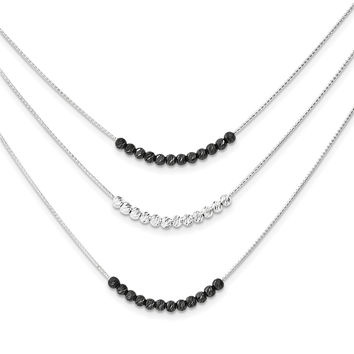Sterling Silver Ruthenium-plated 3 Strand D/C Beaded Necklace QG3829