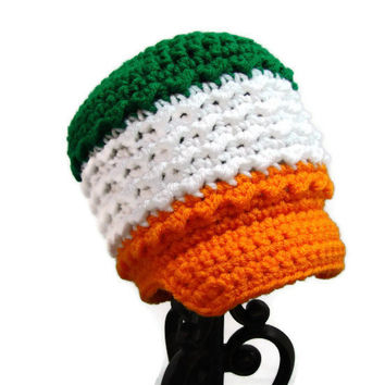 Crochet Newsboy Hat, Irish Flag Newborn Cap, Little Infant Baby Beanie MADE TO ORDER St Patricks Day