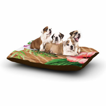 "NL designs ""Vintage Tropical Jungle "" Pink Floral Dog Bed"