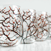 Autumn Wine GlassesSet of 4 Stemless by MaryElizabethArts on Etsy