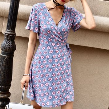 2018 summer new short sleeve academic style floral dress