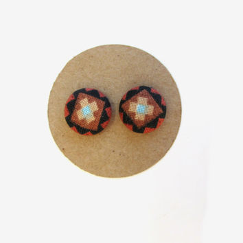 Ethnic Print Fabric Earrings // Tribal // Ethnic // Stud Earrings // Valentines // Graduatioin // Spring // Nickel Free // For Her //