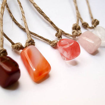 Boho Bridesmaid Gift - Gemstone Pendant with Transitional Natural String - Wedding Accessories, Jewelery