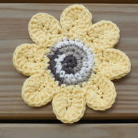 Sunflower, Crochet Cotton Coasters, Sunflower Drink Coasters, Set of 4