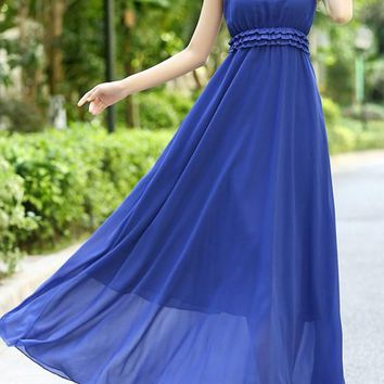 Dark Blue Boho Patchwork Draped Tulle Sleeveless Bridesmaid Plus Size Party Maxi Dress