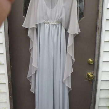 vtg    Goddess 1960s 70s Emma Domb silver grey  Gown, attached  long  cape Formal Gown, Floor Length Dress,  maxi dress, prom dress, sz 11