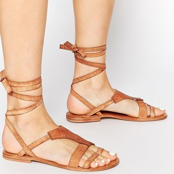 Free People Oliviera Tan Flat Wrap Gladiator Sandals