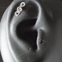 Tragus / Cartilage Earring Sterling silver Treble clef with butterfly backing