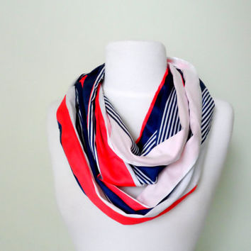 Nautical Red White and Bue Stripe Cotton Infinity Scarf-Double Wrap, Long, Different Ways to Wear, Trendy and Modern
