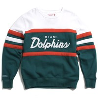 Miami Dolphins Head Coach Crewneck Sweatshirt Teal / White