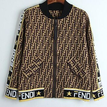 FENDI Newest Fashionable Women F Letter Jacquard Knit Long Sleeve Sweater Cardigan Jacket Coat