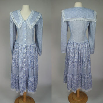 1980's Gunne Sax sailor style country dress long sleeve button up blue cotton long dress size Large US 10 Jessica McClintock