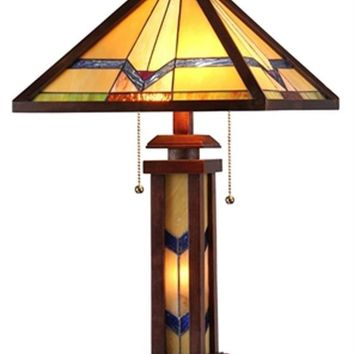 "Alexander Tiffany-Style 3 Light Mission Double Lit Wooden Table Lamp 15"" Shade"