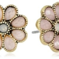 "NINE WEST VINTAGE AMERICA ""Along The Shore"" Worn Gold Tone Rose Flower Stud Earrings"