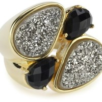 "Marcia Moran ""Illume"" Titanium Druzy and Black 18k Gold-Plated Ring, Size 8"