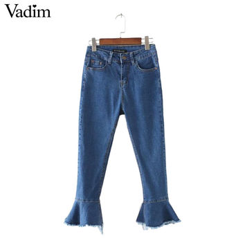 Women black blue denim jeans flare pants fringe tassle pockets design European style fashion streetwear trousers KZ873