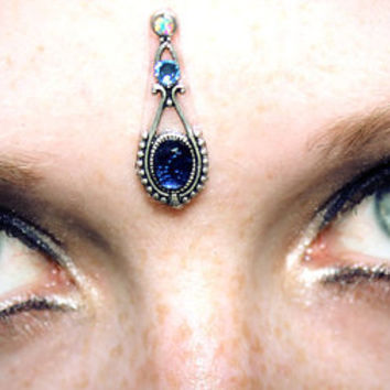 Navy Bindi, facial jewelry, silver filigree, tribal fusion, skin gem, vintage, bellydance, bollywood, fae, third eye, wicca, goddess, gypsy