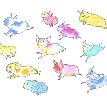 8x10 Fearless Flying Frenchies Art Print - Whimsical French Bulldog Art - from an Ink and Watercolor Painting by InkPug!