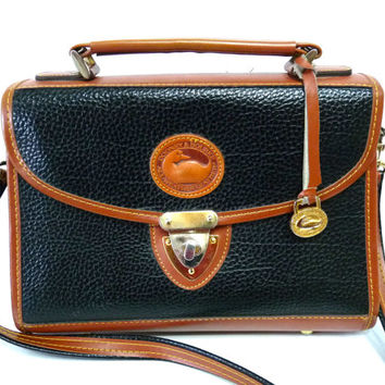 Vintage Dooney & Bourke Bag All Weather Leather Black and Tan Briefcase Satchel Cross body Handbag