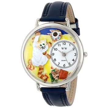 SheilaShrubs.com: Unisex Bad Cat Navy Blue Leather Watch U-0120003 by Whimsical Watches: Watches