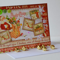 Twas the Night Before Christmas Retro Vintage Inspired Paper Christmas Greeting Card, Holiday Paper Craft, Handmade Blank Seasonal Note