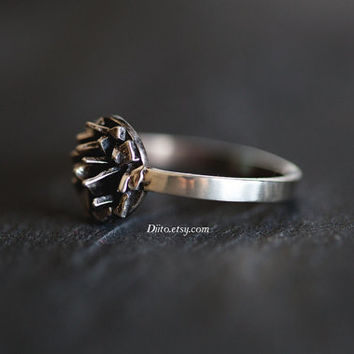 Size 6.5, Sterling Silver Spiky Cluster Ring, Industrial Ring, Textured Ring, Spike Ring, Oxidized Ring, Ready To Ship!