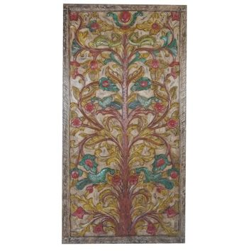 Mogul Vintage Carved Barn Door Panel Colorful KALPAVRIKSHA TREE Of Dreams Wish Fulfilling Tree Art D?cor - Walmart.com
