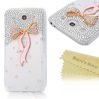 Mavis's Diary New 3D Handmade Crystal Pink Bow Pretty Diamond Design Sparkle Glitter Case Clear Cover for LG Optimus G Pro E980 F240k with Soft Clean Cloth