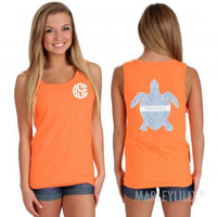 Orange Letter and Turtle Print Sleeveless Top