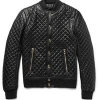 Balmain - Quilted Leather Bomber Jacket