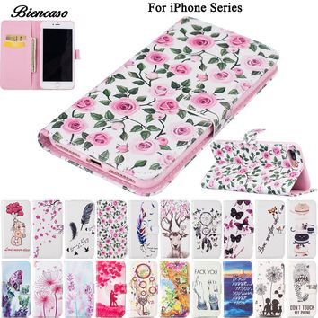 Flower Leather Case For iPhone 8 7 Plus For iPhone 6 6S Plus 5 5S SE 5C Wallet Bag Case For iPhone 8 7 Card Slot Phone Cover B00