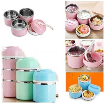 Durable Mini Thermal Lunch Box Leak-proof Stainless Steel Food Container Tableware For Food Storage