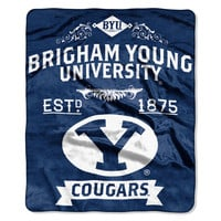 "BYU College """"Retro"""" 50x60 Raschel Throw"