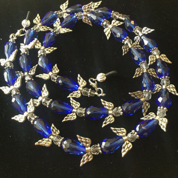 Blue and Silver Angel Eyeglass Chain