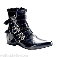 Brogue 06 Men's Black Pointy Toe Skull Buckle Dress Ankle Boot