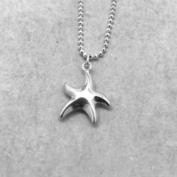 Starfish Necklace, Sterling Silver, Everyday Necklace, Handmade Jewelry, Gifts for Her, Sterling Silver Starfish Necklace, Double Sided