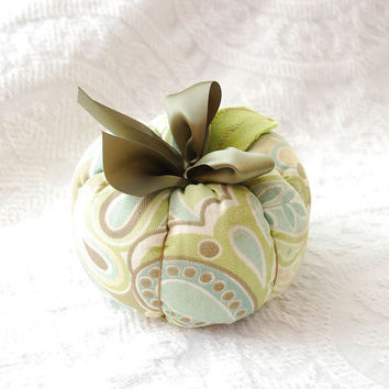 Fall Plush Fabric Pumpkin in Sage and Olive by boutiquevintage72