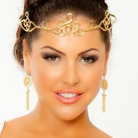 Women's Gold Peak Circlet Sexy Regal Gold Circlet With Adjustable Chain Back