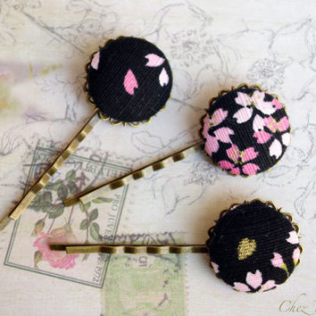 3 Japanese Fabric hair pin Black hair Jewelry Floral button bobby pins hairstyles fancy