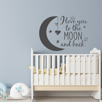 I Love You to the Moon and Back Baby Wall Decals, Nursery Wall Decals Children Room Decor, Moon and Stars Nursery Wall Decor by Homy Vinyl