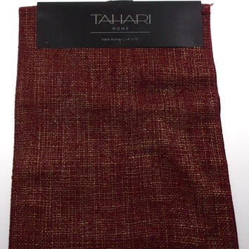 "Kitchen Table Runner Tahari Home Red & Gold 14""x72"" Party Wedding Banquet Decor"